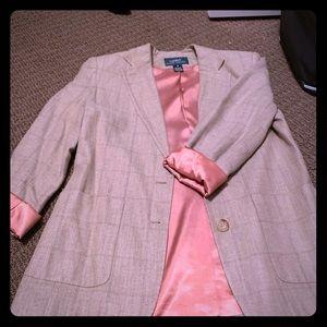 Beautiful Tan Tweed blazer with peach silk lining